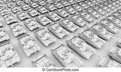 Multiple army tanks rows, aerial view sketch animation. Seamless loopable 4K clip