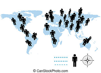 World Population Earth Symbol People on Map - The population...