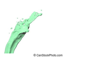 flying green liquid flow in slow motion.. Colored paint -...