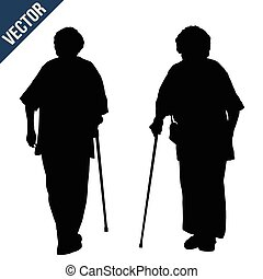 Two silhouettes of a old woman