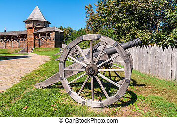 Ancient gun installed on wooden carriages - Old Cossack...