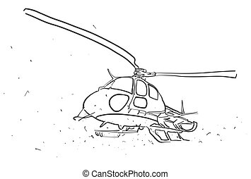 Helicopter in wide angle Perspective Sketch, Hand drawn...