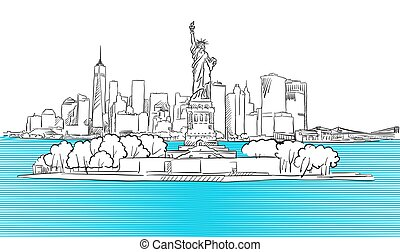 Liberty Statue with New York City Skyline Sketch, Hand drawn...
