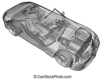 transparent sport car isolated