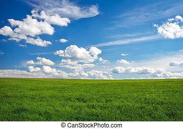céu, natureza, Nuvens, capim, paisagem, colinas