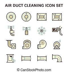 Duct clean icon - Air duct pipe cleaning vector icon sets.