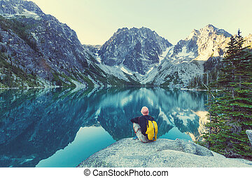 Alpine lake - Beautiful Alpine lakes wilderness area in...