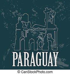 Paraguay landmarks. Ruinas de Humaita. Jesuit of Jesus...