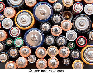 Used disposable drain batteries for recycling - Group of...