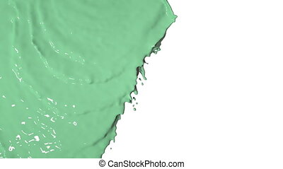 green liquid flows and fills screen slow motion Colored...