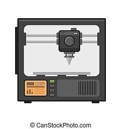 Printer 3d on White Background. Vector - 3d Printer on White...