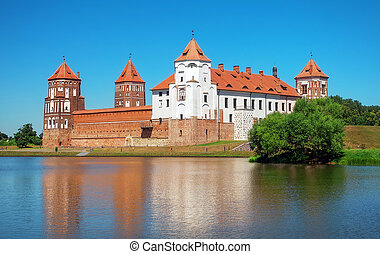 Castle in town Mir of Belarus. Medieval Mir castle
