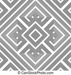 monochrome geometric knotted seamless pattern - vector black...