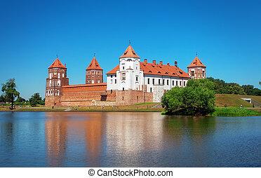 Castle in town Mir of Belarus Medieval Mir castle