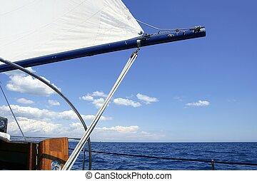azul, Navegación, velero, Océano, mar, vendimia