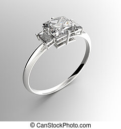 Wedding ring with diamonds. 3D rendering
