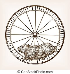 Hamster in a wheel hand drawn sketch vector - Hamster in a...