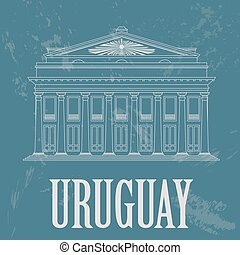 Uruguay landmarks. Theater Solis, Montevideo. Retro styled...