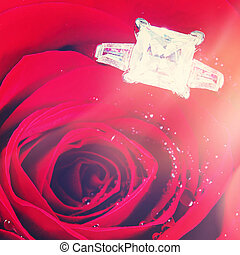 Diamond in case with flowers isolated on white background -...