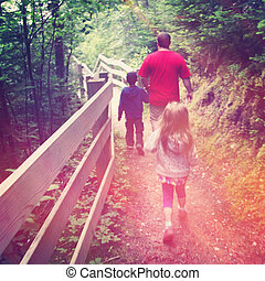 family walking in path - With Instagram effect - With...