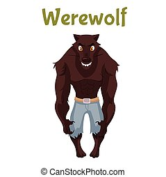Scary werewolf, Halloween costume idea, cartoon style vector...