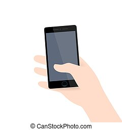 Hand holding modern black realistic colored phone