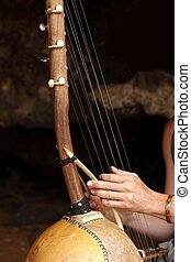 ethnic african ten strings instrument similar bolon ngonis...