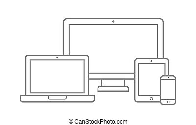 Electronic Device with Different Screen Size Icons Set. Vector