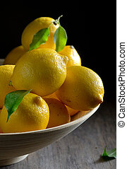 lemons on an old wooden table