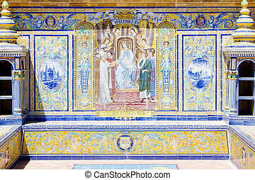 tile painting, Spanish Square (Plaza de Espana), Seville, Andalusia, Spain