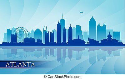 Atlanta city skyline silhouette background, vector...