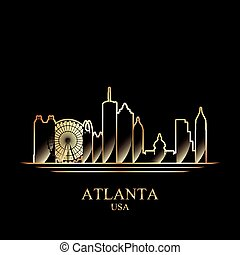 Gold silhouette of Atlanta on black background, vector...