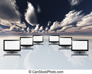 Empty flat panels in white with sky