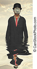 Man in dark suit hidden face partly underwater