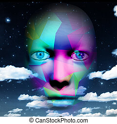 Dream 1 - Colorful human face with sky background