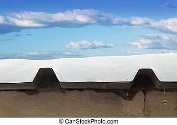 metal snow roof meltwater detail blue sky - metal snow roof...