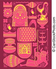 Happy Durga Puja festival background kitsch art India -...