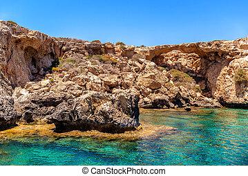Ayia Napa sea caves near Cape Greco Famagusta District...