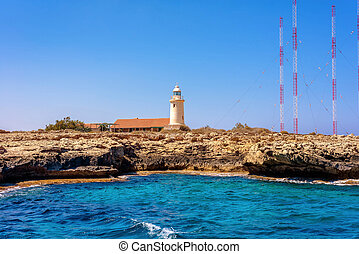 Cape Greco Lighthouse. Famagusta District, Cyprus.