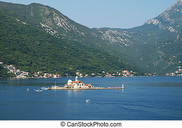 Island Our Lady of the Rocks off coast of Perast in Kotor...