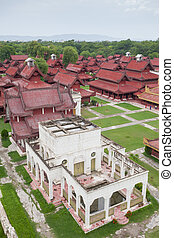 Aerial view over the Mandalay Palace in Myanmar