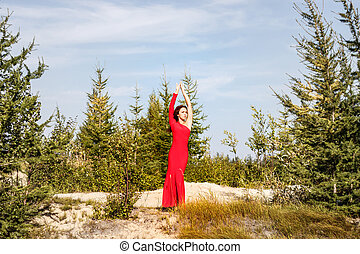 Lady in a red dress in the forest - Lady in a red dress in...