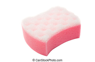 pink bath sponge on white background