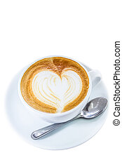 Cup of coffee with heart symbol isolated on white background