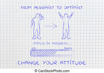 from pessimist to optimist: man changing attitude, progress...