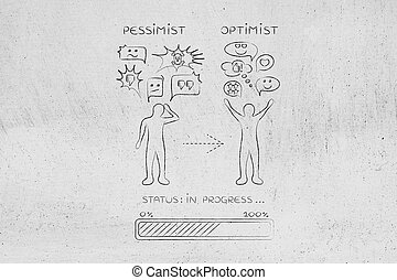 from pessimist to optimist: man changing reaction - from...