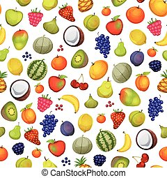 Seamless Fruit Icons Background - Illustration of a seamless...