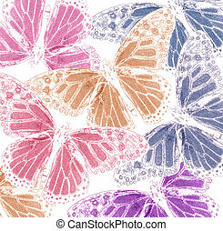 Background from multi-colored silhouettes of butterflies ,...
