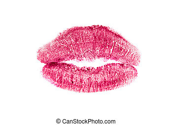 lips with lipstick mark on a white background