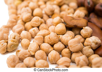 chickpeas on a white background